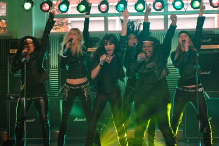 The Glee girls rock out