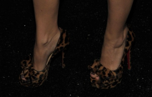 Leopard peep-toe pumps