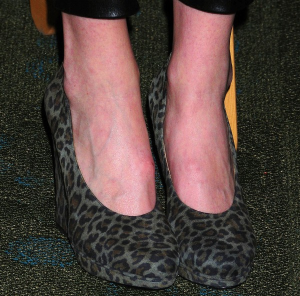 Leopard wedge pumps