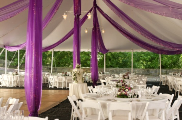Wedding reception with pink accents