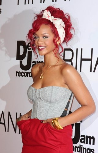 rihanna red hair curly hair. Rihanna - curly red updo