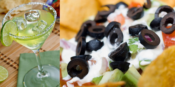 Classic Margaritas with 7-layer dip