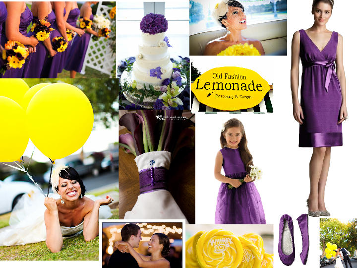 Violet and yellow wedding colors
