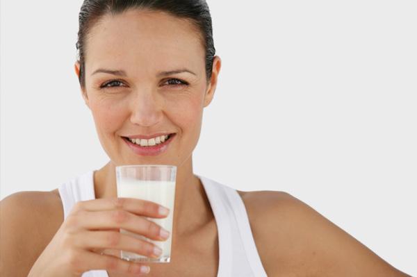 Woman drinking milk