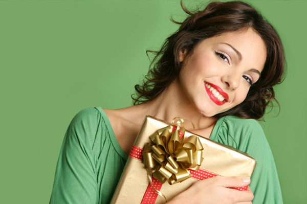 Gifts Women Woman with Christmas gift