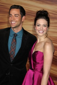 Zach Levi and Mandy Moore at the Tangled premiere