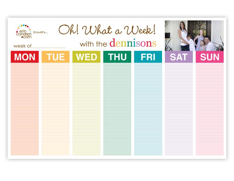 Customized Weekly Planner By