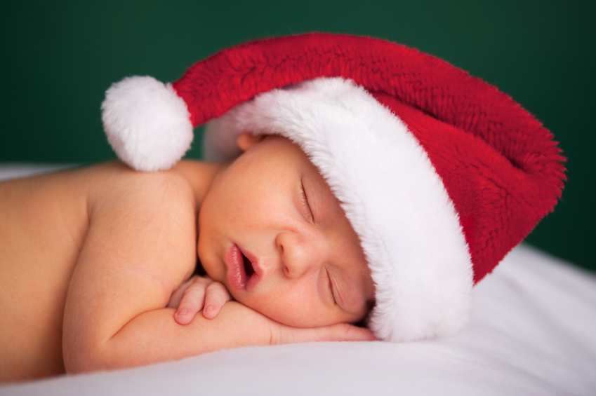 Sleeping newborn on Christmas