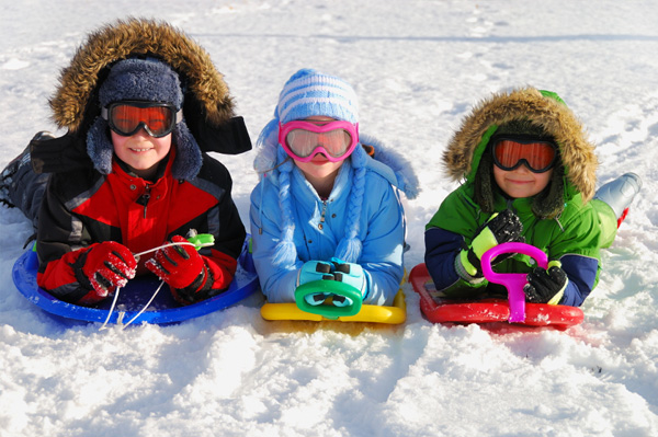 Kids on sled