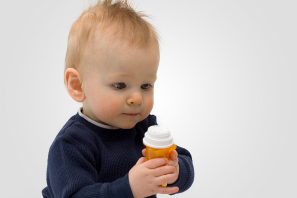 Toddler with medicine