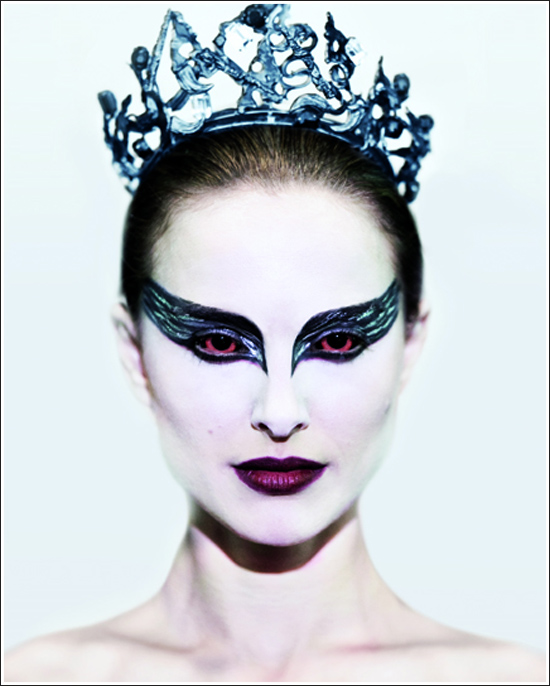For this look I combined part of her white swan, and black swan makeup to