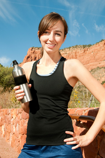 Woman with BPA free bottle