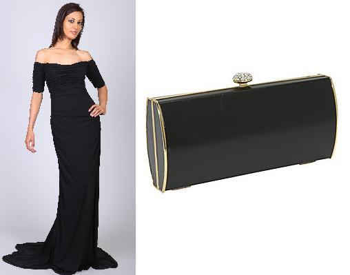 Black dress and black clutch
