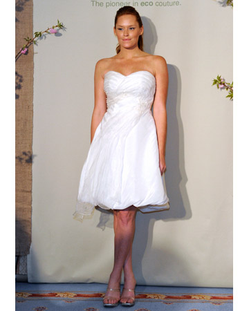 Spring 2011 collection this ecofriendly wedding dress features a short