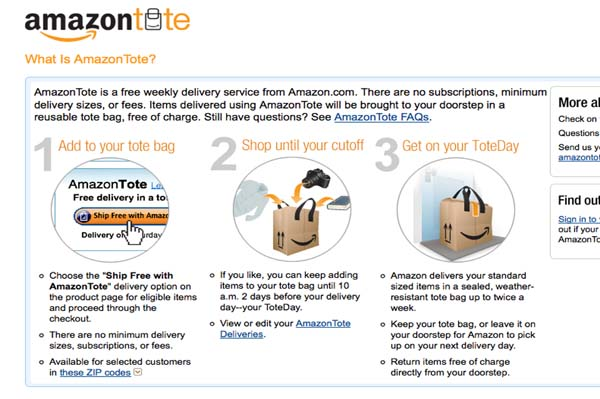 Amazon to expand AmazonTote
