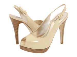 Nude peep-toe heels