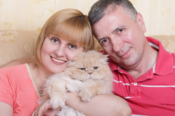 Couple with fat cat