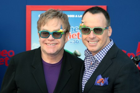 Elton John and David Furnish at the Gnomeo and Juliet premiere