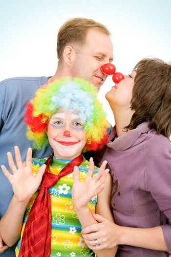 Family dressed as clowns