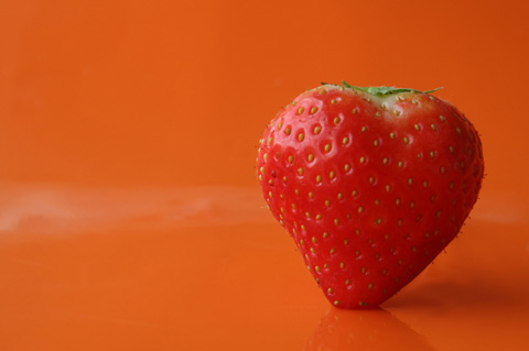 Heart shapped strawberry