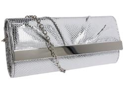 Silver metallic clutch