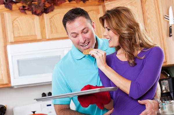 Romantic couple baking