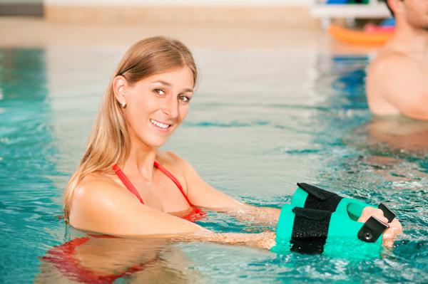 Woman doing aqua aerobics