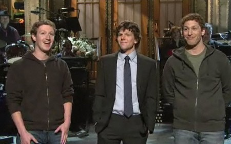 Mark Zuckerberg, Jesse Eisenberg and Adam Sanberg on SNL!