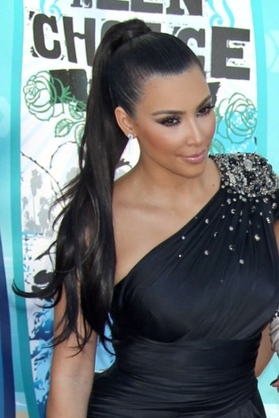 TOP 20 Hollywood's Celebrities Fashionable Ponytails Hairstyle 04 - Kim Kardashian