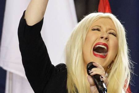 Christina Aguilera performs the National Anthem