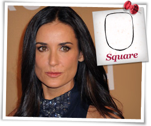 Demi Moore with a square face shape