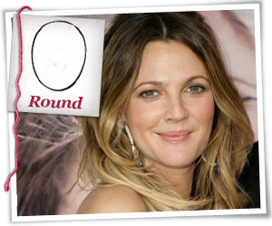 Drew Barrymore with a round face shape