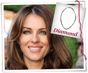 Elizabeth Hurley with a diamond-shaped face