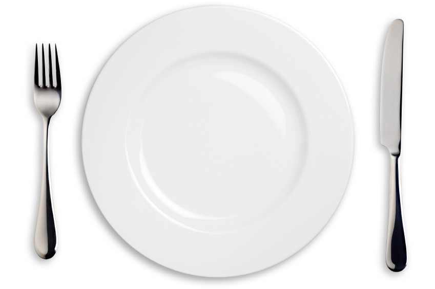 Fork, knife and plate