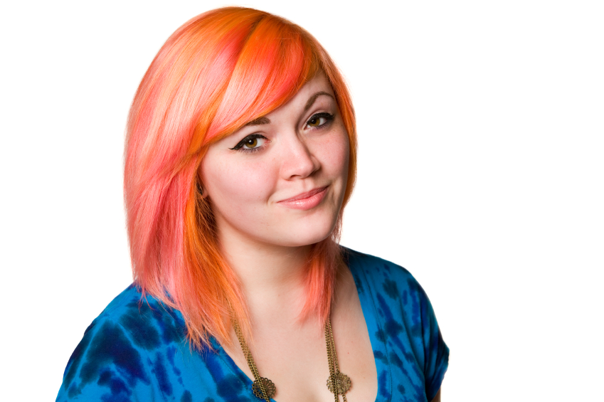 Teen with dyed hair