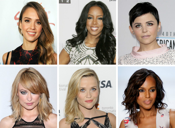 Women with different face shapes and hairstyles