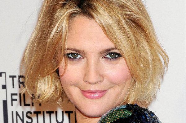Drew Barrymore has a round shaped face