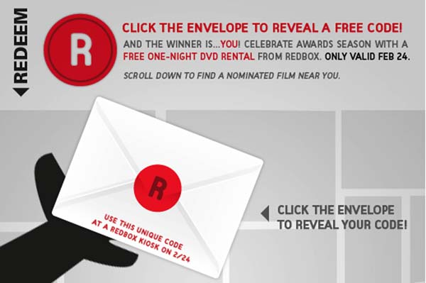 Free Redbox rental code on Facebook