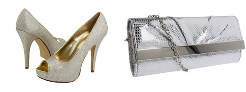 Silver heels and silver clutch