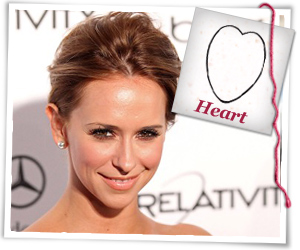 Jennifer Love Hewitt with a hear-shaped face