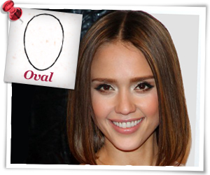 Jessica Alba with a oval face shape