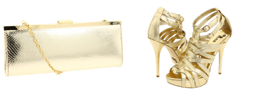 Gold clutch-gold strappy heels