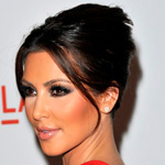 Kim Kardashian with dark hair updo