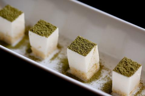 Matcha cheesecake bites
