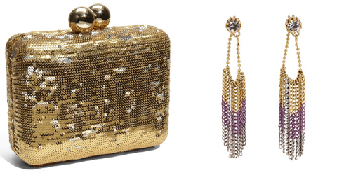 Gold box clutch and gold earrings
