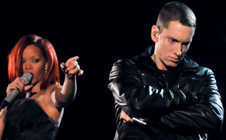 Eminem and Rihanna at the 2011 Grammy Awards
