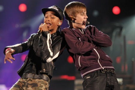 Justin Bieber and Jaden Smith at the Grammy Awards