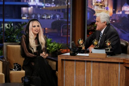 Lady Gaga visits Leno to talk Madonna