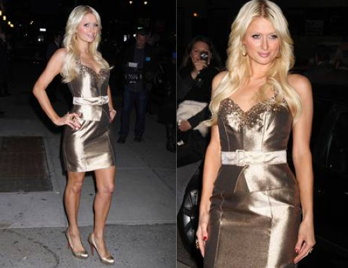 Paris Hilton's gold lame dress