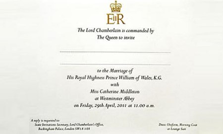 william and kate wedding invitation. Prince William and Kate